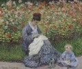 Camille Monet and a child in the artists garden in Argenteuil 1875 - Claude Oscar Monet
