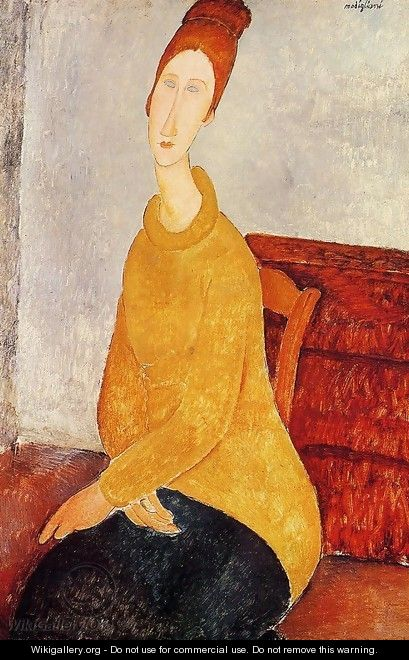 Yellow Sweater (aka Portrait of Jeanne Hebuterne) 1919 - Amedeo Modigliani