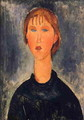 Bust Length Portrait of Blonde Girl 1919 - Amedeo Modigliani