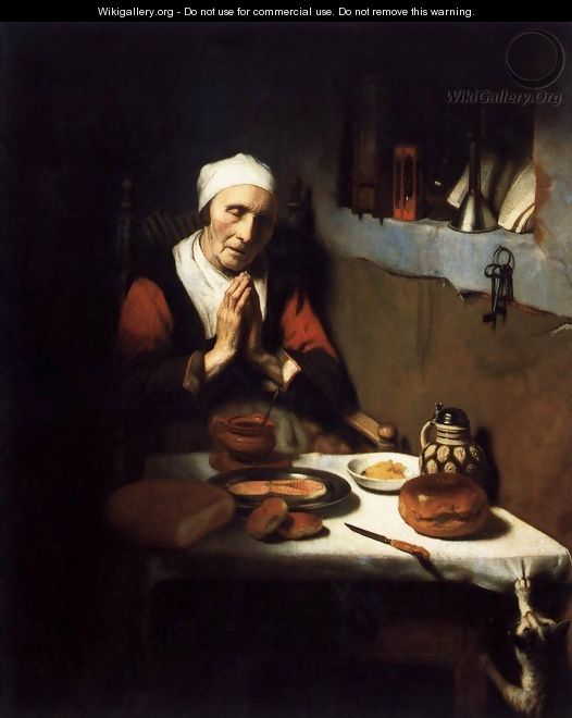 Old Woman Saying Grace 1656 - Nicolaes Maes