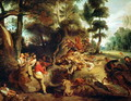 The Wild Boar Hunt after a painting by Rubens 1840 50 - Eugene Delacroix