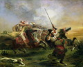 Moroccan horsemen in military action 1832 - Eugene Delacroix