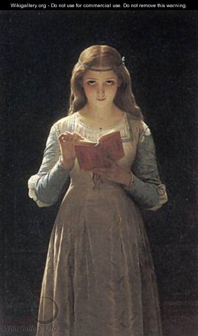 Young Maiden Reading a Book - Pierre Auguste Cot