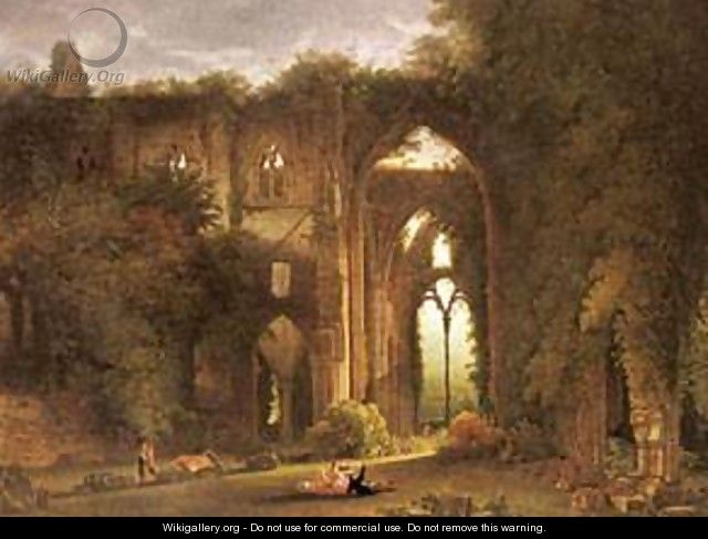 Tintern Abbey With Elegant Figures - Leon Francois Comerre