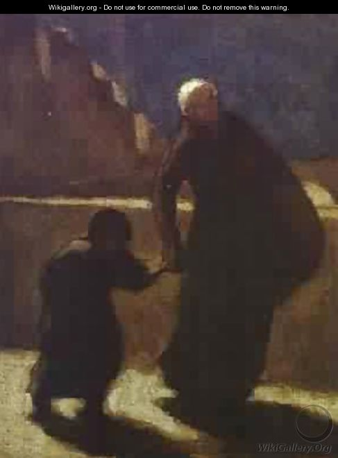Woman And Child On A Bridge 1845-48 - Honoré Daumier