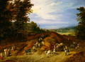 Landscape with peasants carts and animals - Jan The Elder Brueghel