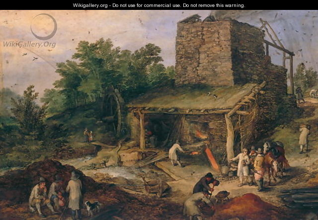 Landscape with a foundry - Jan The Elder Brueghel