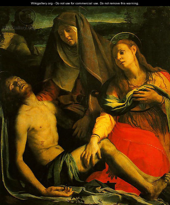 The Dead Christ with the Madonna and Mary Magdalen - Agnolo  Bronzino