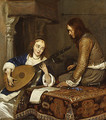 A Woman Playing the Theorbo Lute and a Cavalier ca 1658 - Gerard Ter Borch