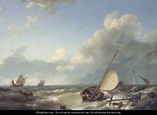 Shipping in a Stiff Breeze - Barend Cornelis Koekkoek