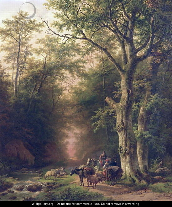 Wooded Landscape with peasants - Barend Cornelis Koekkoek