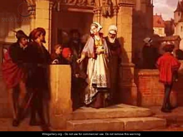 Koller Wilhelm Faust And Memphistopheles Waiting For Gretchen At The Cathedral Door - Joseph Arpad Koppay