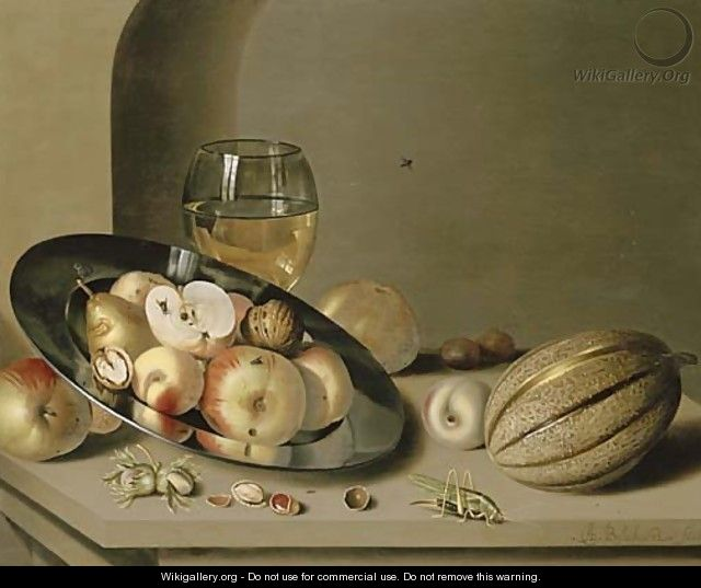 Apples, pears, peaches and walnuts on a pewter plate with fruit, a roemer, a melon, chestnuts and a grasshopper on a stone ledge in a niche - Ambrosius the Younger Bosschaert