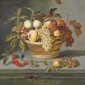 Grapes with a pear, an apricot, apples and plums in a wicker basket with a sprig of cherries, a lizard and a Red Admiral butterfly on a stone ledge - Ambrosius the Elder Bosschaert