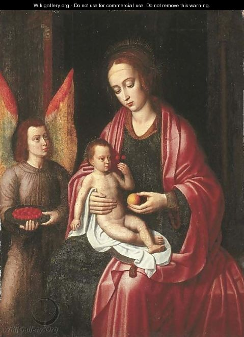 The Virgin and Child attended by an angel with a bowl of cherries - Ambrosius Benson