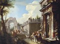 A capriccio of classical ruins with figures by a temple, a triumphal arch beyond - Andrea Locatelli