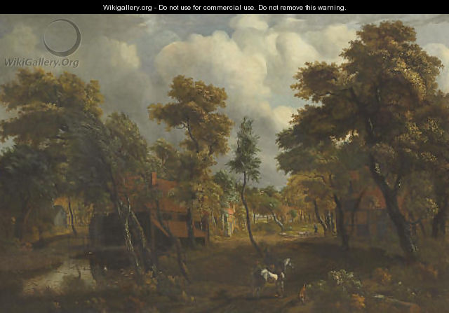 A wooded river landscape with travelers on a path - (after) Meindert Hobbema