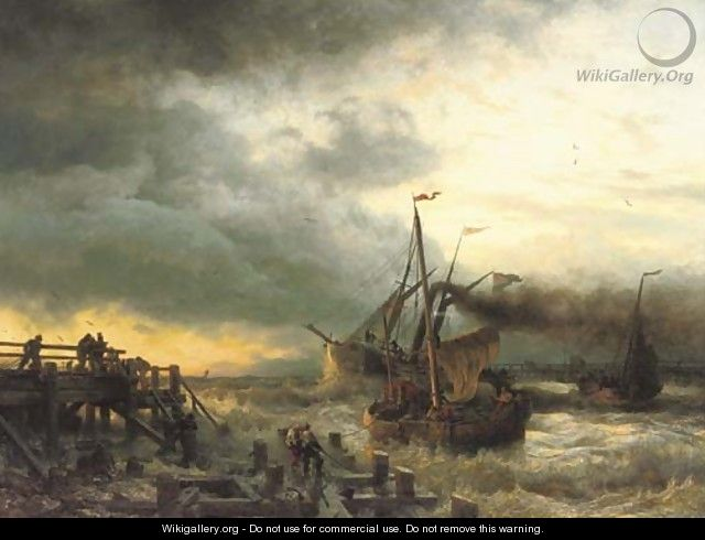 The departure of the steamship - Andreas Achenbach