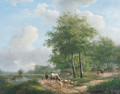 Walking along a sunlit path in the countryside - Andreas Schelfhout