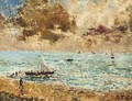 Sailing vessels off the seashore - Alfred Stevens