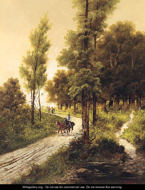Travellers on a Track in a wooded Landscape - Alfred Steinacker