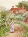 Children holding a cat before a cottage - Alice Squire