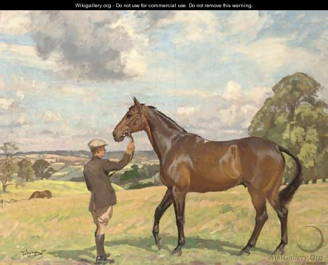 A hunter and groom in an extensive landscape - Algernon Talmage