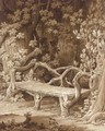 A rustic bench built of roots set among trees - Amelie Munier-Romilly