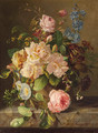 A still life with roses, primulas and morning glory - Amalie Kaercher