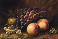 Grapes, Peaches and an Apple on a mossy Bank - Alphonse Vimont