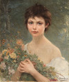 A young girl with wild flowers - Alfred Guillou