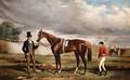 Sir Joseph Hawley's Teddington held by his Trainer Alec Taylor with the Jockey Job Marson at Epsom - Alfred F. De Prades