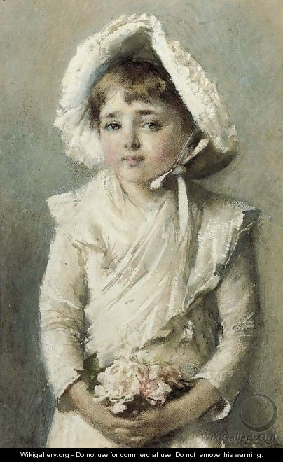 Portrait of a young girl with a bonnet holding a small bouquet - Alfred Edward Emslie