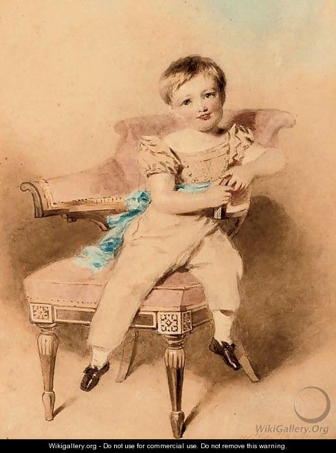Portrait of a boy, seated, wearing a blue sash - Alfred-Edward Chalon