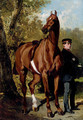 A Soldier with a Horse in a Landscape - Alfred Dedreux