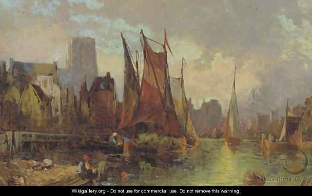 Hay barges in a continental port at dusk - Alfred Montague