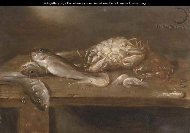 Crabs, pikes and shrimp on a wooden ledge - Alexander Adriaenssen
