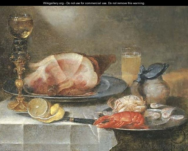 A ham, a lobster, a crab and shrimps on pewter plates with a roemer on a gilt stand, a glass of beer, an earthenware jug - Alexander Adriaenssen
