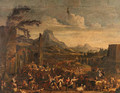 A Market scene with Peasants dancing before ruined Buildings in a mountainous Landscape - Alexander van Bredael