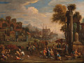 Peasants by a Mediterranean harbour with classical ruins - Alexander van Bredael