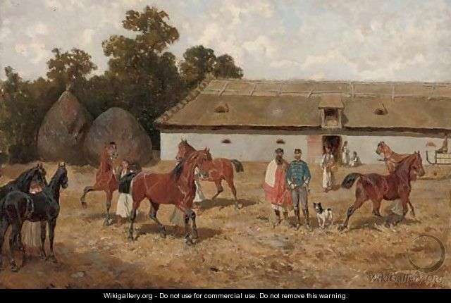 Training the horses - Alexander Ritter Von Bensa