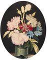 Still-life of Rosa centifolia Cabbage Rose, Dianthus caryophyllus Carnation and Nigella var - Alexander Marshal