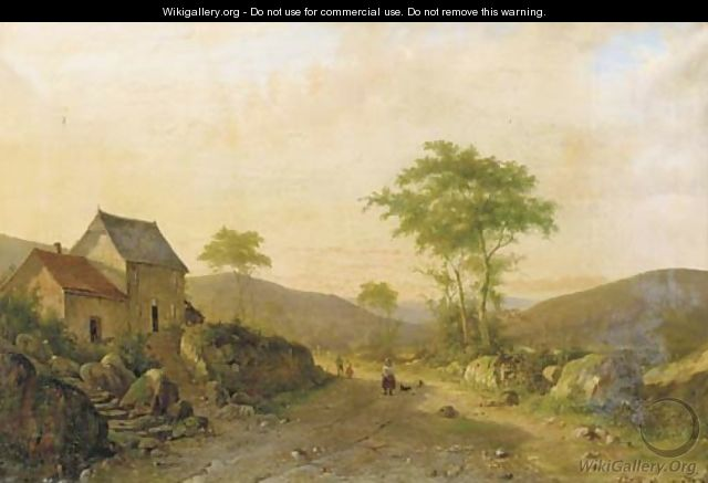 Travellers on a sandy track in a hilly landscape - Alexander Hieronymus Jun Bakhuyzen