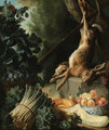 A hunting still life with a dead hare and game birds on a stone plinth with asparagus, artichokes, a cucumber and a pear - Alexandre-Francois Desportes