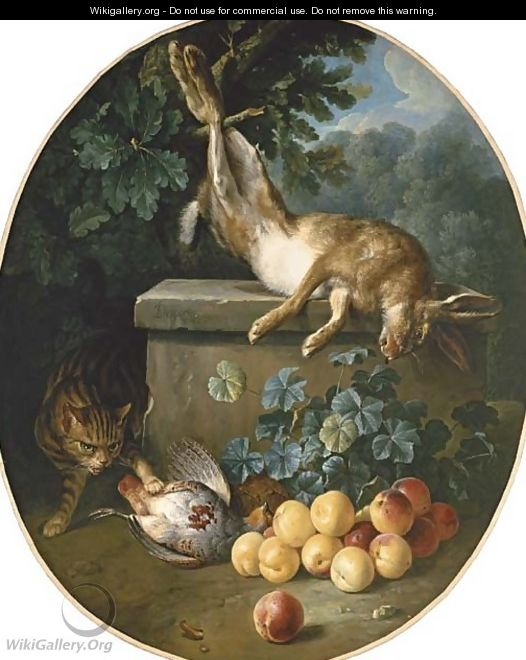 Still life with game and peaches with a cat stalking from behind a stone ledge - Alexandre-Francois Desportes