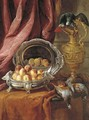 Peaches in a silver-footed bowl, a silver platter, an African Grey parrot perched on a vermeil ewer and game birds on a partly-draped tabletop - Alexandre-Francois Desportes