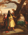 An elegant traveller discovering a woman and child in a landscape--a sketch - Alexandre Evariste Fragonard