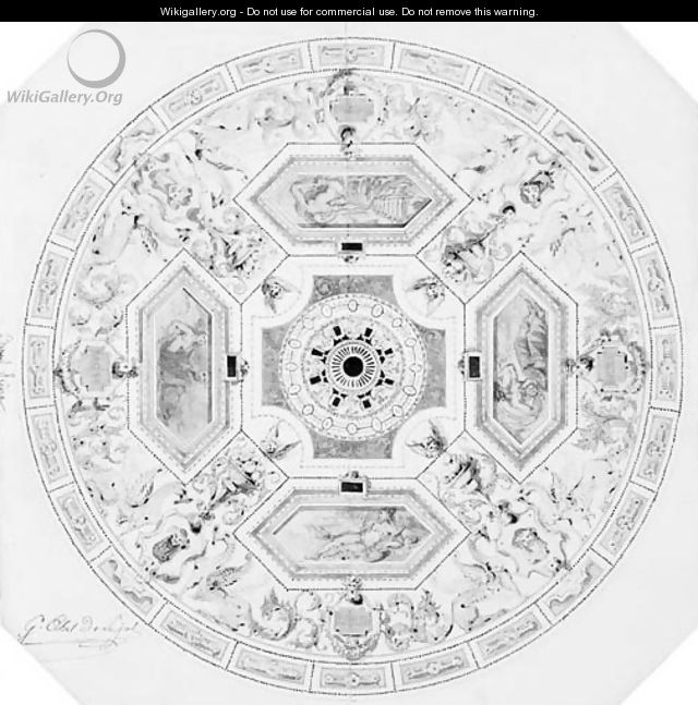 Design for the decoration of a cupola in a theatre - Alexandre-Denis Abel de Pujol