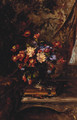 A Vase Of Mixed Flowers On A Book In An Interior - Alexandre Rene Veron