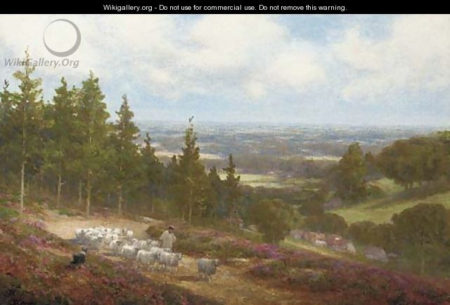 A shepherd with his flock at Shere, near Dorking - Alexander Young